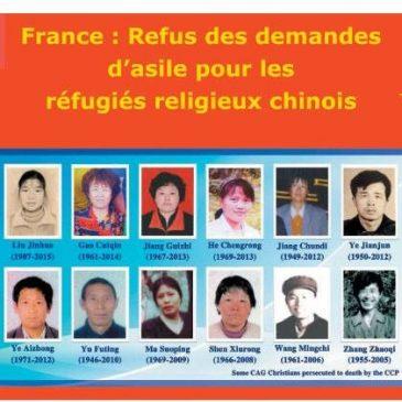 France:Refus des demandes d'asile pour les refugies religieux chinois